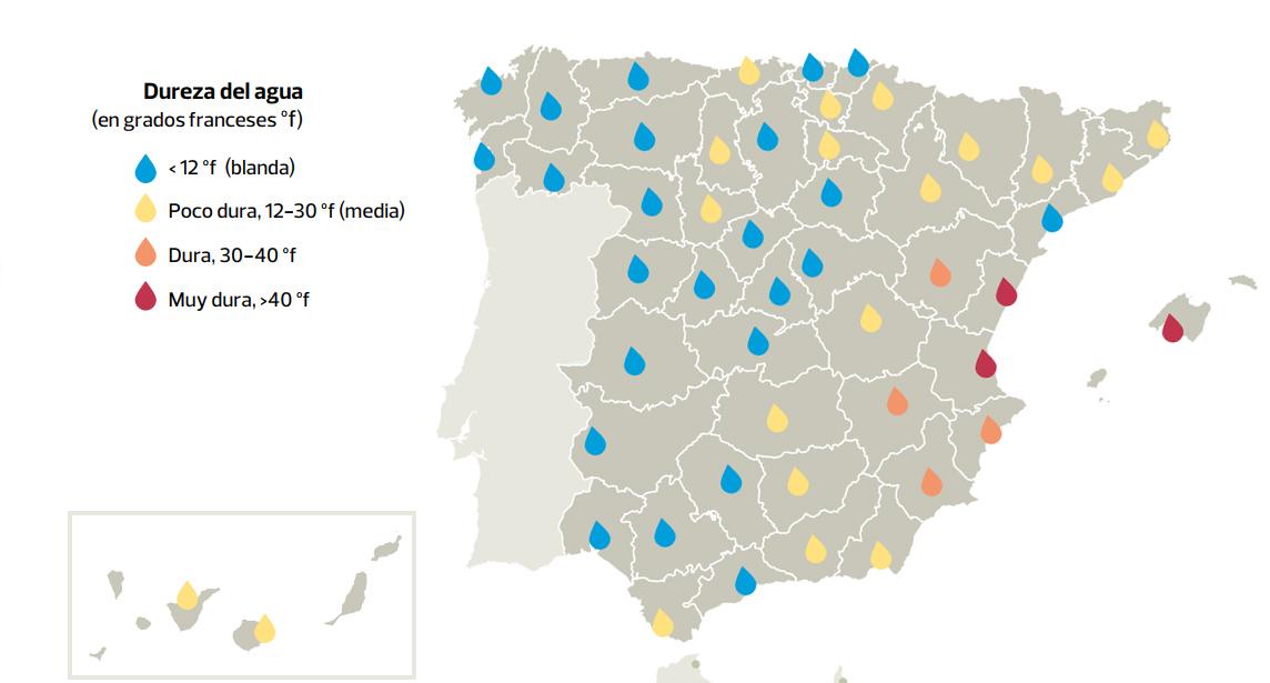 da93e2110fee0 Dureza del agua en capitales españolas. Fuente  OCU