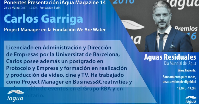 Carlos garriga de we are water participar en la for We are water
