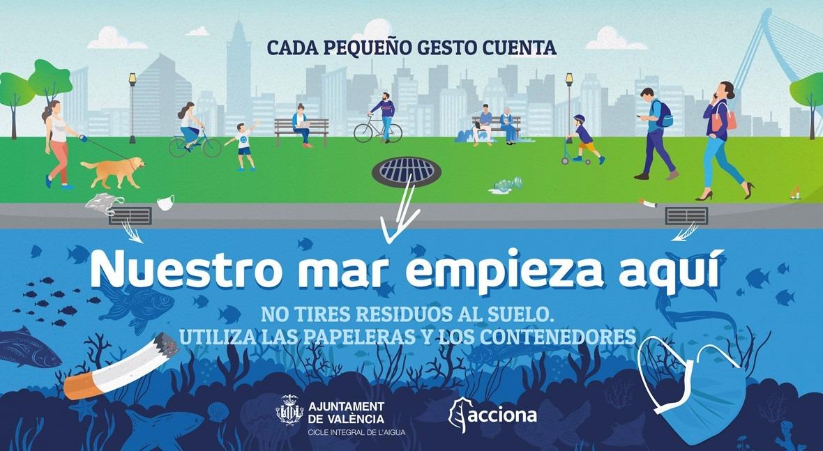 """ACCIONA y Valencia lanzan """"Nuestro mar empieza aquí"""" concienciar red saneamiento"""