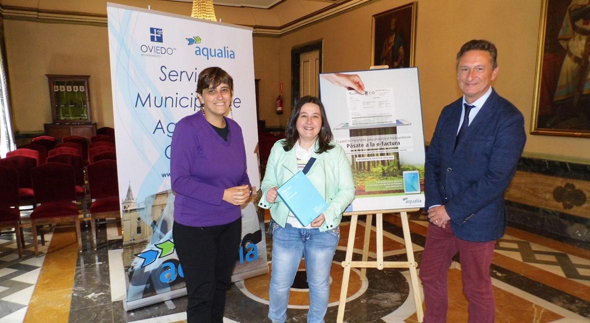 Vecinos Oviedo, ganadores campaña promoción factura digital Aqualia