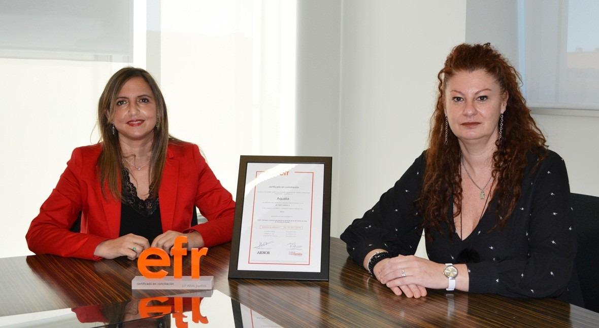Aqualia ve reconocidos avances Conciliación renovación certificado EFR