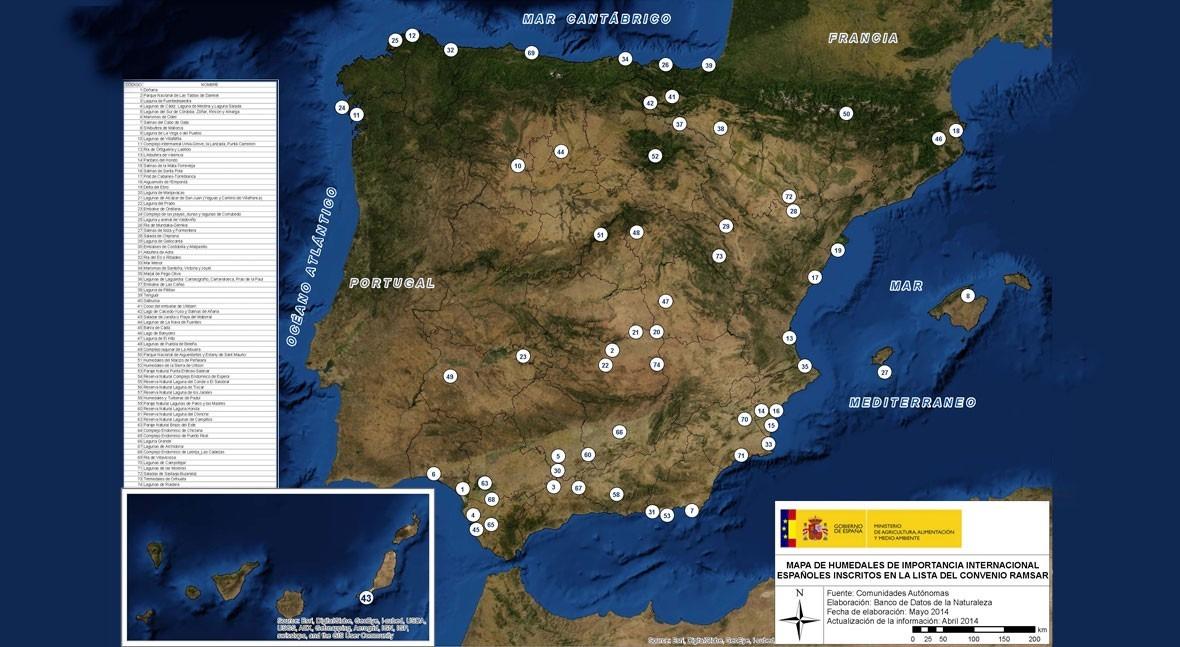 Mapa: 74 humedales españoles inscritos Lista Ramsar