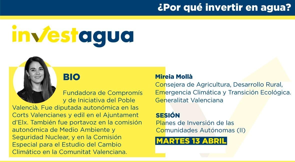 """Mireia Mollà INVESTAGUA: """" Tajo-Segura es estratégico Comunidad Valenciana"""""""