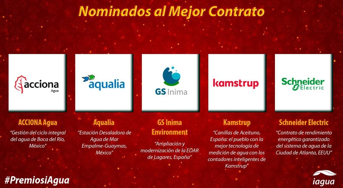 Cinco nominados disputarán Premio iAgua 2018 Mejor Contrato