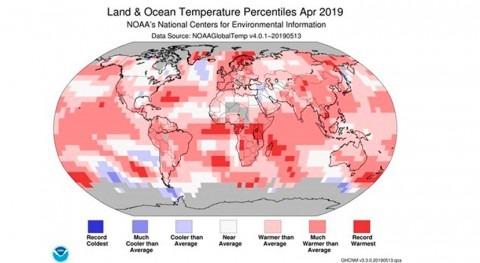 Abril 2019, segundo más cálido mundo 140 años registros
