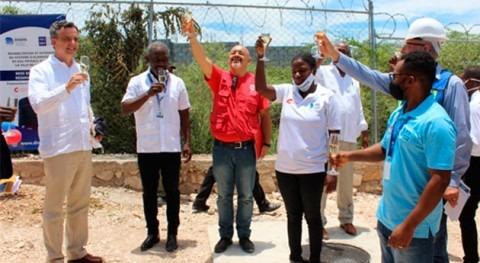 Inaugurada primera fase sistema agua potable Arcahaie (Haití) gracias al FCAS