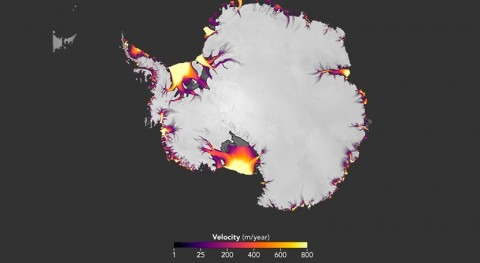 nuevo mapa satélite mide descarga hielo Antártida