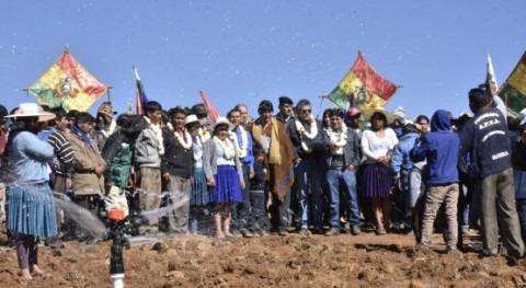 nuevo sistema riego Alalay, Bolivia, incrementa producción agrícola