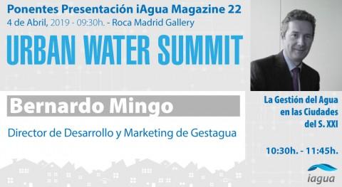 Bernardo Mingo,Gestagua, participará como ponente UrbanWater Summit 2019