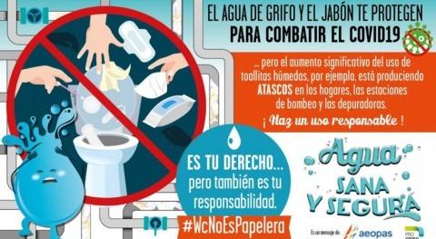 Cadasa lanza campaña concienciación evitar vertido toallitas húmedas al inodoro
