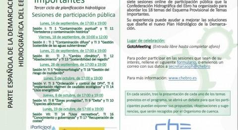 Jornadas online 18 temas Esquema Temas Importantes demarcación Ebro