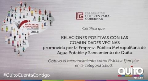 Agua Quito es reconocida trabajo continuo relacionamiento comunidad