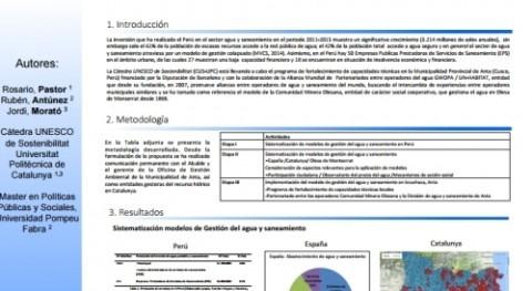 modelo Comunitat Minera Olesana Congreso Internacional Agua y Sostenibilidad