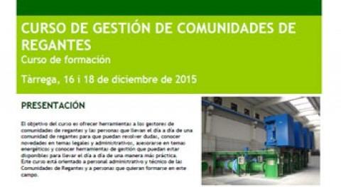 Curso Gestión Comunidades Regantes. Tárrega 16 y 18 diciembre 2015