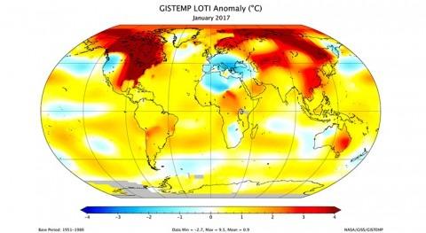 Enero 2017, tercero más cálido 137 años registro