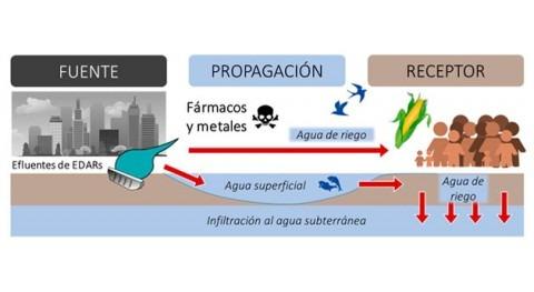 Riego cultivos aguas superficiales contaminadas fármacos y metales traza