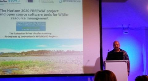 Zeta Amaltea representa al proyecto FREEWAT simposio clúster ICT4WATER UE