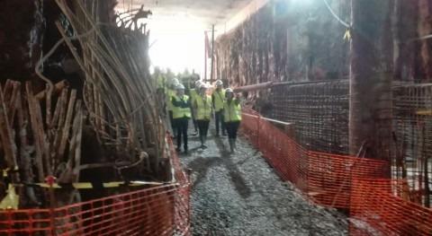 Visita obras estación bombeo aguas residuales que URA construye Sukarrieta