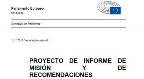 Informe Comisión Peticiones UE óptica usuario agua