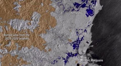misión Copernicus Sentinel-1 ESA mapea inundaciones históricas Australia