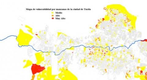 Mapa de vulnerabilidad de la ciudad de Tuxtla Gutiérrez, considerando la edad de la población y las viviendas con piso de tierra