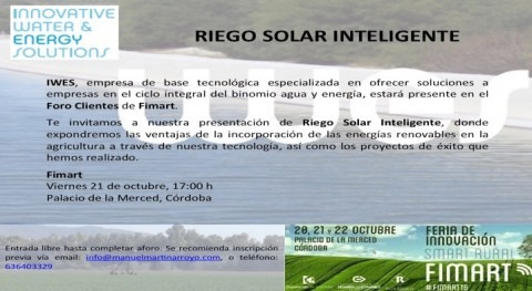 IWES presentará Foro Clientes Fimart Riego Solar Inteligente