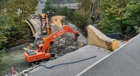 Demolición y retirada completa escombros puente derrumbado Urumea, Hernani