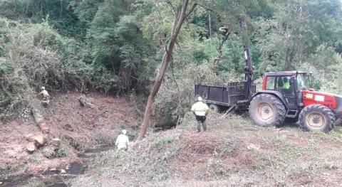 Iniciada limpieza río Carrocera Carrocera y Piñera, San Martín Rey Aurelio
