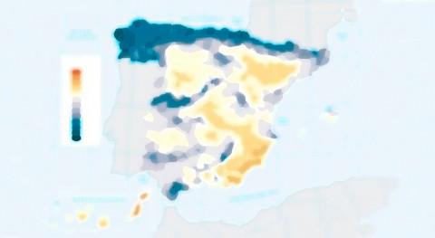 mapa lluvia España: país franjas
