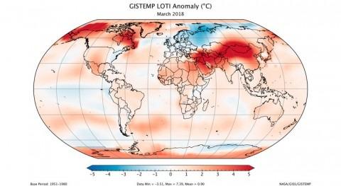 Marzo 2018, seis marzos más calurosos 1880