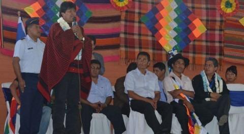 Evo Morales inauguró sistema microriego Tocno, localidad valle alto cochabambino