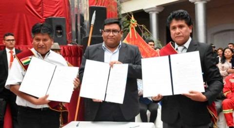 Bolivia firma convenio estudios drenaje pluvial, alcantarillado y planta tratamiento
