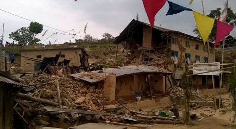 Imagen tras el terremoto en Nepal.