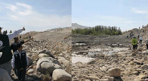 Autoridad Nacional Agua inspecciona valle Vítor deslizamientos y filtraciones