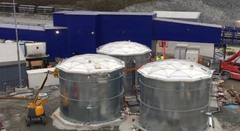 Tanques acero domos Alusphere suministro agua tuneladoras Noruega