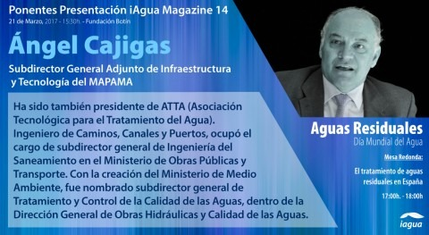 Ángel Cajigas confirma participación presentación iAgua Magazine 14