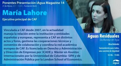 María Lahore (CAF), ponente presentación iAgua Magazine 14