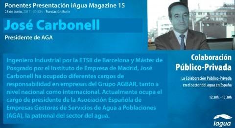 José Carbonell AGA participará mesa redonda presentación iAgua Magazine 15