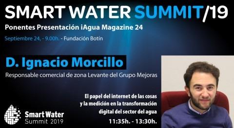 Ignacio Morcillo, Grupo Mejoras, será ponentes Smart Water Summit 2019