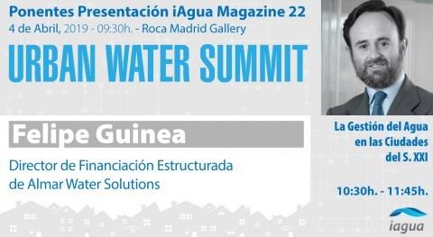 Felipe Guinea, Almar WaterSolutions, participará como ponente Urban Water Summit 2019