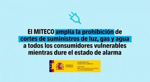 MITECO amplía prohibición cortes suministros luz, gas y agua