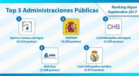 Agencia Catalana Agua continúa nº 1 Ranking iAgua Administraciones Públicas