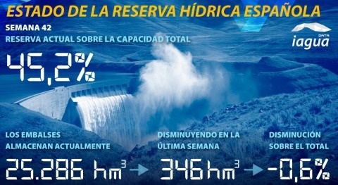 reserva hídrica española desciende 45,2% capacidad total