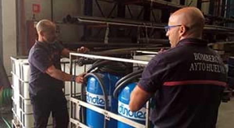 Bomberos Unidos Fronteras recogen Dinotec potabilizadora cual viajarán Haití