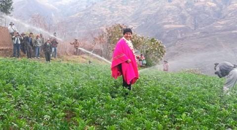 agricultores Morochata se benefician sistema riego tecnificado