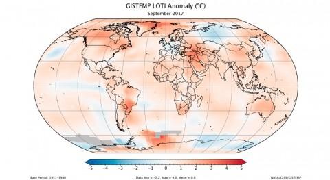 Septiembre 2017 ha sido cuarto más cálido 137 años