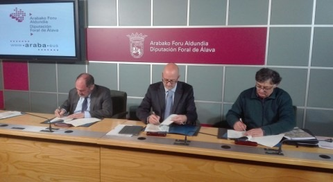 Firma convenio construir nueva depuradora aguas residuales Agurain Salvatierra