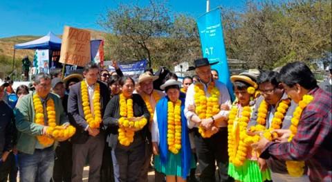 comunidades productivas Padcaya, Bolivia, se benefician nuevos sistemas riego