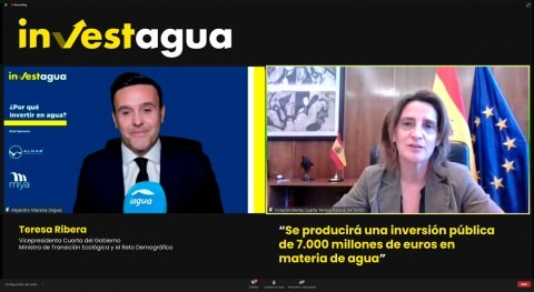 "Teresa Ribera anuncia INVESTAGUA "" esfuerzo inversor precedentes"" materia agua"