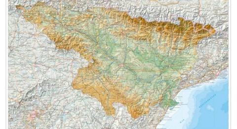 Mapa cuenca hidrográfica Ebro relieve: nueva imagen territorio CHE